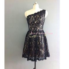Short Black Lace Bridesmaid Dress/Custom by AnnaCustomDress, $79.00