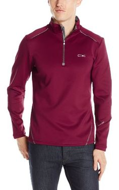 f7261b435a7c5 Calvin Klein Men s Long Sleeve 1 4 Zip Heavy Interlock Sweatshirt