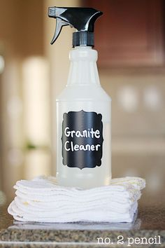 "Homemade Granite Cleaner : 1/4 teaspoon of liquid dish soap + 1/4 cup of rubbing alcohol + 2 1/2 cups of water. One pinner said ""best I've ever used!!"""