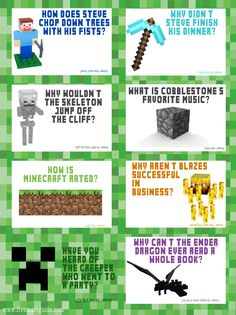 Free Back to School Printable: Minecraft Lunchbox Jokes
