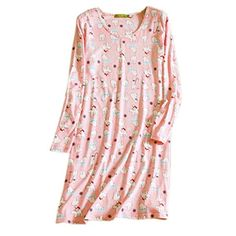 fa13ba872e New ENJOYNIGHT Women s Cotton Sleepwear Long Sleeves Nightgown Print Tee Sleep  Dress. Christmas Clothing