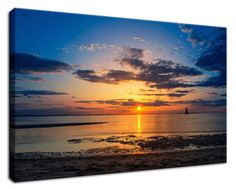 """11"""" x 14"""" Canvas Gallery Wrap Landscape Photograph: Sunset at Breakwater Lighthouse on the Beach of the Bay. View all of the beautiful landscape photos by nature and landscape photographer Melissa Fague at:  https://www.etsy.com/shop/PIPAFineart Limited edition fine art landscape photography prints and traditional photo prints for wall decor are also available in a variety of sizes."""
