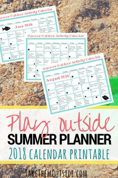 Play outside more this summer with printable summer planners for 2018. These calendars will give your family plenty of outdoor activity and nature play ideas. | #printables #summerfun #kidsactivities #summercalendar #summerplanner #homeschooling #takethemoutside #getoutside
