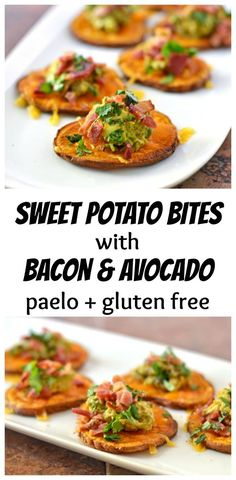 Sweet Potato Bites with Bacon and Avocado. Great appetizer for game day football tailgates and the super bowl!Sweet Potato Bites with Bacon and Avocado. Great appetizer for game day football tailgates and the super bowl! Avocado Hummus, Bacon Avocado, Avocado Toast, Guacamole, Avocado Salad, Avocado Egg, Avacado Snacks, Sweet Potatoe Bites, Potato Bites