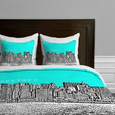 NYC Themed Bedding: Aqua New York Skyline Duvet Cover
