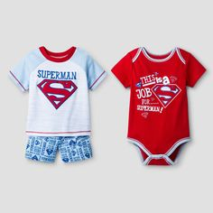 This Warner Bros. Baby Boys' 3-Piece Superman Shorts Set in Red is just the thing your little super hero needs. This set includes a short sleeve bodysuit, short sleeve tee shirt and coordinating shorts.