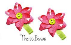 Flower ribbon sculpture hair bow clippies.