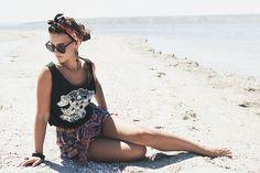 More looks by Olga  Balbert: http://lb.nu/user/402085-Olga-B  #retro #romantic #vintage #cateyes #eyewear #sunglasses #bandana #print #chic
