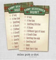 Instant Digital Download Camp Out Scavenger Hunt Party Game