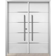 Buy online pre-hung premium entrance steel double door from contemporary collection with 4 horizontal stainless steel stripes fused into steel door - model from Architec Series. Double Doors Exterior, Double Front Doors, Steel Doors, Locker Storage, The Originals, Google, Home Decor, Image, Recipes