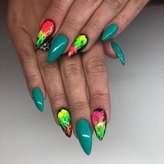 38 Spectacular Neon Nail Designs for 2018