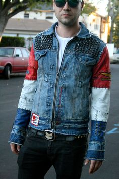 Studded Denim Jacket with leather sleeves