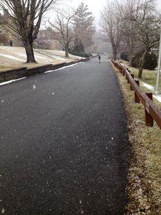 Snow starting to fall in Banner Elk North Carolina.