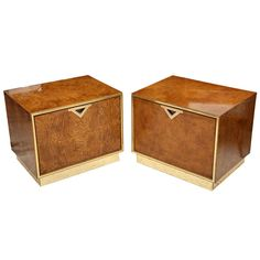 A Pair of American Modern Burl Walnut and Brass End Tables
