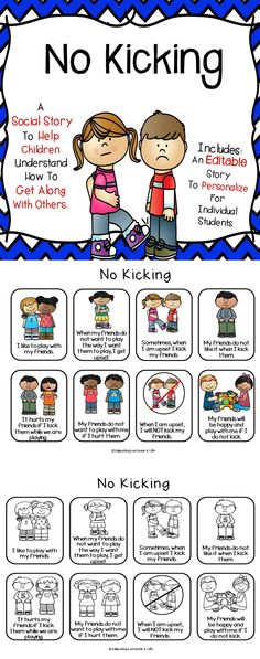 Social Story Template and Printable Social Story - No Kicking - Classroom Ideas and Classroom Resources. Social Skills Activities, Classroom Activities, Classroom Ideas, Coping Skills, Life Skills, Behavior Interventions, School Social Work, We Are Teachers, Positive Behavior