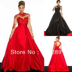 2014 Uniqued Design Long Sleeve High Neck Royal Train A-line Red And Black Wedding Dresses HG179 $175.00