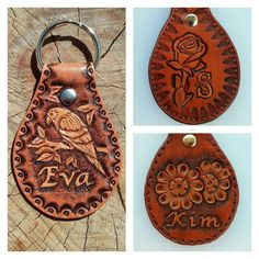 Leather Accessories, Leather Jewelry, Leather Projects, Leather Crafts, Leather Tooling Patterns, Key Chain Holder, Leather Keyring, Key Fobs, Custom Leather