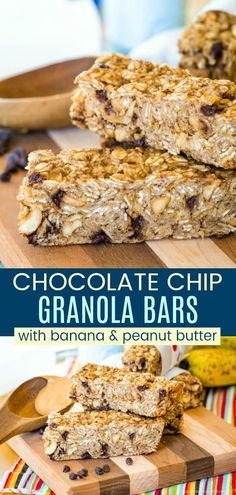 Banana Peanut Butter Chocolate Chip Granola Bar Recipe - nobody can resist this all-time favorite combination of flavors. Enjoy them as a healthy breakfast or snack, or pack in a kids school lunch. Easy to make, only 9 ingredients, and gluten free. Granola Bars Peanut Butter, Chocolate Chip Granola Bars, Healthy Granola Bars, Chocolate Chip Banana Bread, Peanut Butter Banana, Mini Chocolate Chips, Chocolate Peanut Butter, Gluten Free Bars, Easy Gluten Free Desserts