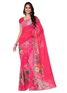 Beautiful Pink colour georgette printed saree
