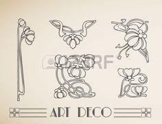 art déco motif de fleurs d'ornement. Banque d'images - 18081270