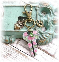 Vintage Key Purse Zipper Pull Pastel Shabby Chic Roses by TheVintageHeart