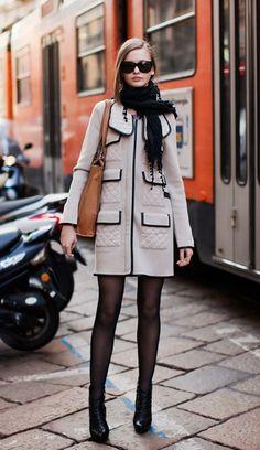 slate coat w/black trim, black tights & shoes + wrapped scarf- très parisienne