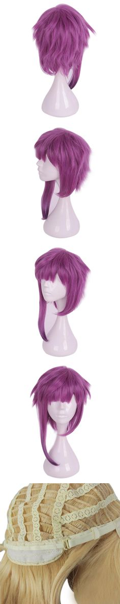 Mcoser 50CM Straight Meduim Purple Mix-color Synthetic Cosplay Wig 100% High Temperature Fiber Hair WIG-658O