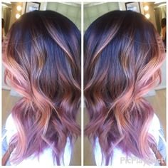 dusty rose gold with chocolate mauve hair color