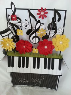Musical Pop-Up Card by Miss Vicky - Cards and Paper Crafts at Splitcoaststampers (birthday card pop up explosion box) Card In A Box, Pop Up Box Cards, 3d Cards, Card Boxes, Card Kit, Fancy Fold Cards, Folded Cards, Cricut Cards, Stampin Up Cards
