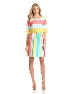 Gabby Skye Women`s Stripe Belted Fit And Flare Dress