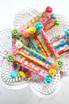 Colorful Bobby Pins Set of Six. $18.00, via Etsy.  I love these, great gift idea
