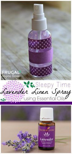 Homemade Lavender Linen Spray - DIY Recipe using Distilled Water and Young Living Lavender Essential Oils. Frugal and Healthy Living. Sleepy Time Remedy.