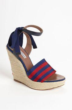gross grain ribbon vamp & tiny criss-cross on back of wedge - SO cute - Tabitha Simmons Alice Wedge Sandal