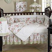 Riley's Roses Vintage Floral 9 Piece Crib Bedding Set