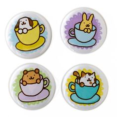 Handmade Gifts | Independent Design | Vintage Goods Cup-O-Animals! Pin Set - Accessories - Girls