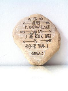 Psalm Hand Scripted River Stone Black and White Painted by FizzFinds, $29.00