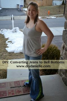 DIY Bell Bottom Jeans Bell Bottom Pants, Bell Bottoms, Diy Clothing, Diy Fashion, Sewing Patterns, Hair Beauty, My Style, Time Warp, Hippie Art