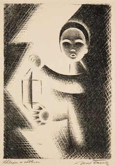 Knabe mit Laterne by Josef Capek - lithograph Central Europe, Modern Art, Past, Auction, Scene, Fine Art, Wall Art, Artwork, Painters
