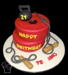 Queque del gimnasio -- Gym cake #workout #cake #cakes #fondant #weights #kettlebell