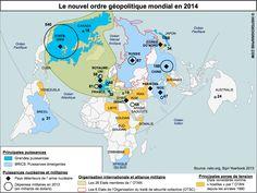 Le nouvel ordre géopolitique mondial en 2014. Source: © HISTGEOGRAPHIE.COM, d'après nato.org, Sipri Yearbook 2013