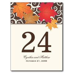 Table Number Card | Autumn Leaves Theme Post Cards