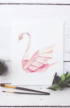 Origami Swan Watercolor Printable