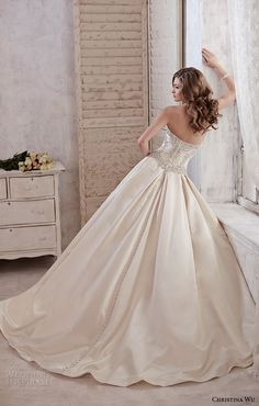 christina wu wedding dresses 2015 strapless sweetheart neckline beaded bodice satin champagne wedding ball gown dress 15581 back view