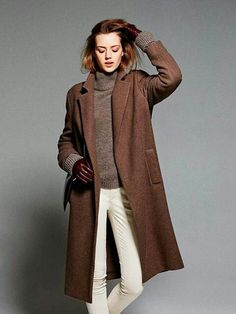 brown coat outfit for winter