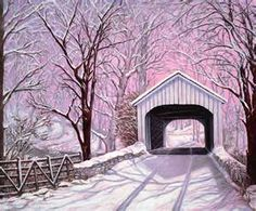 snowy covered bridge-reminds me of living in PA, going to christmas tree farms. warms my heart. Country Life, Country Roads, Country Art, Cross Country, Old Bridges, Winter Scenery, Snow Scenes, Old Barns, Covered Bridges