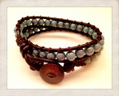Chan luu style boho leather wrap in brown and turquoise. Sold on etsy by beautyandthebeadsXO.etsy.com