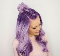 Braided Top Knot Half Updo - Looking for Hair Extensions to refresh your hair look instantly? KINGHAIR® only focus on premium quality remy clip in hair. Pastel Hair, Purple Hair, Lavender Hair, Dream Hair, Rainbow Hair, Crazy Hair, Coloured Hair, Hair Dos, 50 Hair