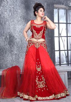 #Red  #Lehenga Choli with Dupatta