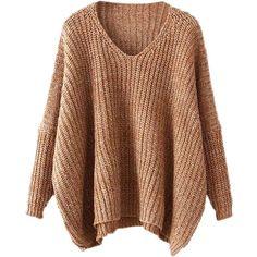 55e7729b41 ROMWE Women s Basic Long Sleeve V-Neck Knit Loose Casual Oversized... (