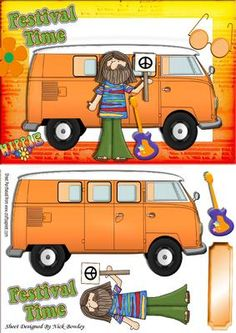 Festival time with orange campervan hippie on Craftsuprint - Add To Basket!